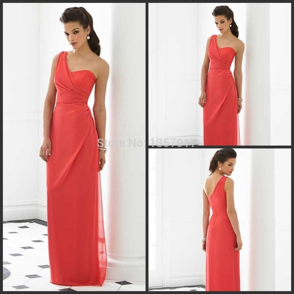 After six bridesmaid dress watermelon elegant one shoulder after six bridesmaid dress watermelon elegant one shoulder sweetheart bodice chiffon coral bridesmaid dresses long free ombrellifo Images