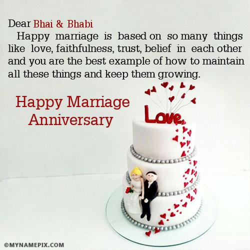 The Name Bhai Bhabi Is Generated On Happy Marriage Anniversary Wishes With N Happy Marriage Anniversary Happy Wedding Anniversary Wishes Marriage Anniversary दिल की गहराई से दुआ दी है आपको, लोगों. happy wedding anniversary wishes