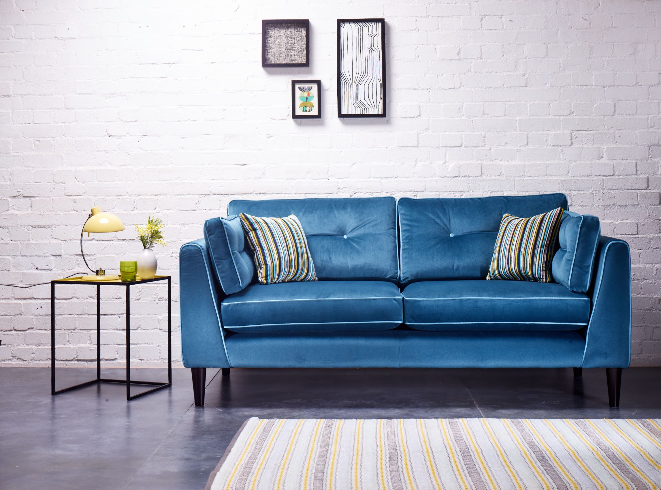 In Beautiful Jewel Tones And Plush Velvet Fabrics The Retro Design Of The Cricket Sofa Is Enhanced By The Contrast Piping A Home Living Room Living Dining Room