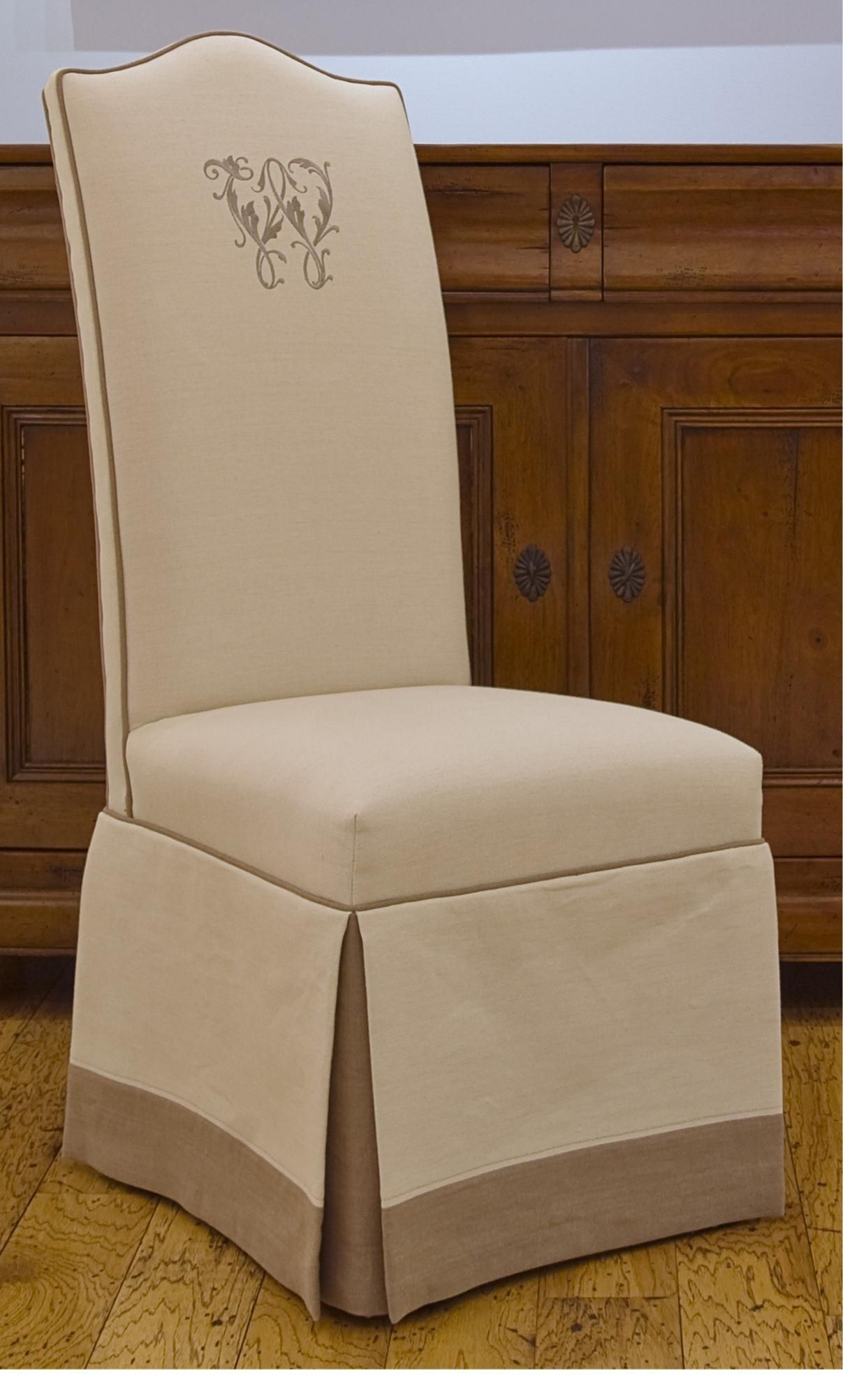 Monogrammed Upholstered Chairs | ... Skirt, Double Welt, And Band At The