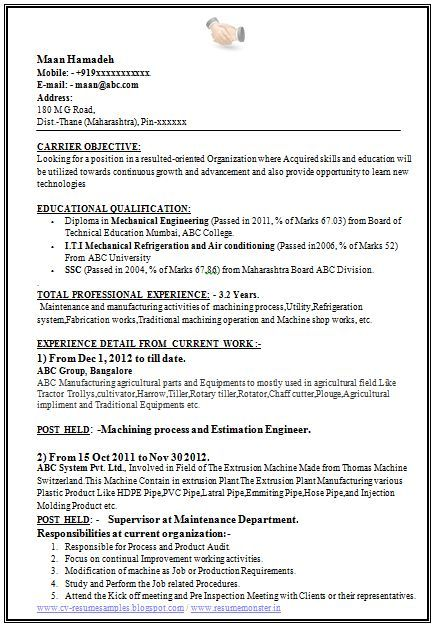 Mechanical Engineering Sample Resume Sample Template Of A Experienced Mechanical Engineer With Great Job .
