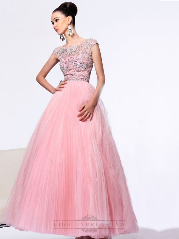 Cap Sleeve A-line Beaded Bodice Long Prom Dress with V-back | Prom ...