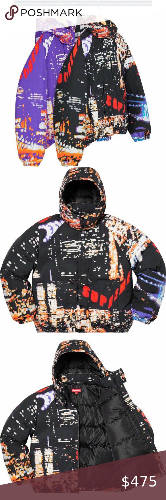 Supreme Black City Lights Puffer Bomber Jacket Bomber Jacket Jacket Brands Jackets [ 1740 x 580 Pixel ]