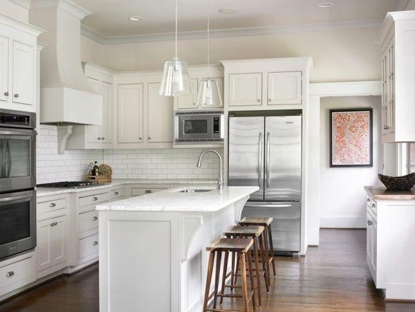 White Kitchen White Cabinets White Marble Countertops White Subway Tile Backsplas White Shaker Kitchen White