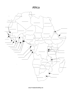This Printable Map Of The Continent Of Africa Has Blank Lines On