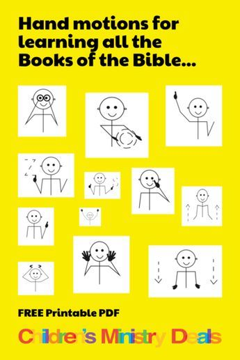 Books of the Bible Hand Motions Guide is part of Kids Crafts Bible Hands - FREE Books of the Bible Hand Motions Guide!  Genesis, Exodus   keep going!  This free download comes in 2 different printable PDF formats   This guide gives you 66 simple hand motions to help kids memorize all of the books of the Bible!  Not only is this extremely helpful in memorizing all the Books of the Bible, it's super fun too!       This printable goes great with our Books of the Bible 12Week Children's Ministry Curriculum, our most popular series so far!     Be sure to view all of our FREE Books of the Bible resources  Help us spread the word   Pin this free Children's Ministry resource on Pinterest!  Just click the SAVE button below