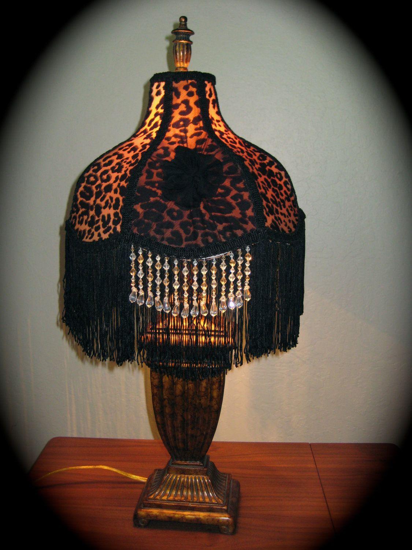Victorian Lamp Shade Leopard Print. 85.00