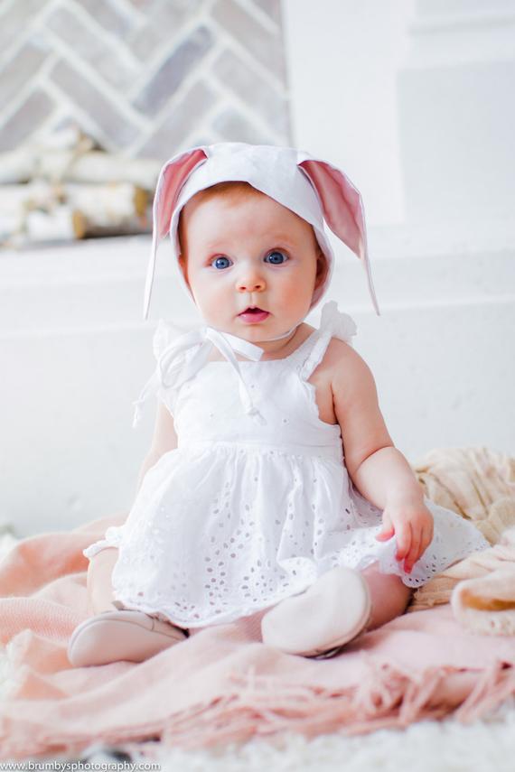 rosette pearl 0-6-12 month NEW Baby Newborn Girl Ivory White Bonnet Satin Hat