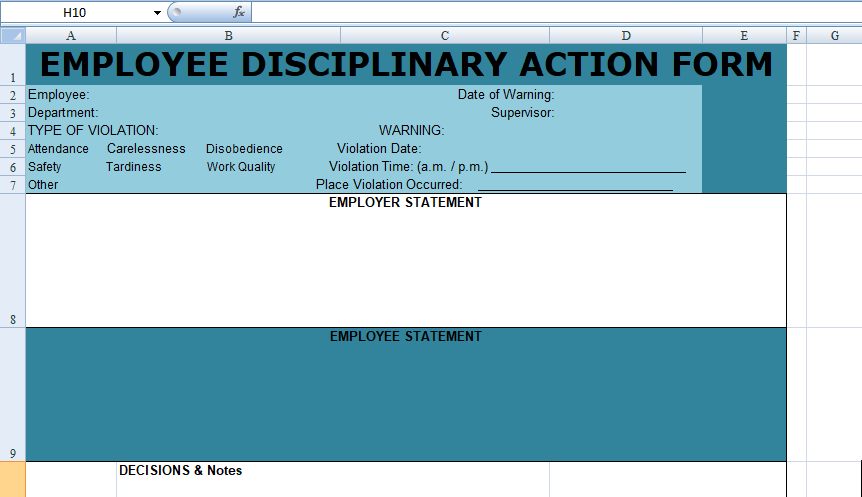 Get Employee Disciplinary Action Form Spreadsheet  Excel