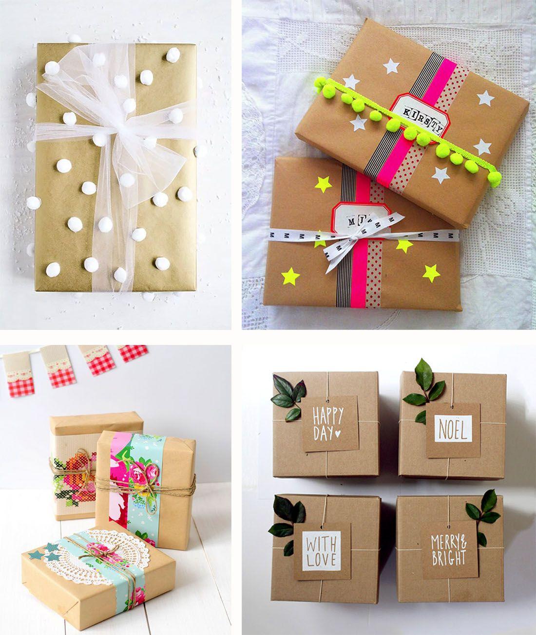 Decoration De Paquets Cadeaux inspiration – papier kraft, des paquets cadeaux emballants