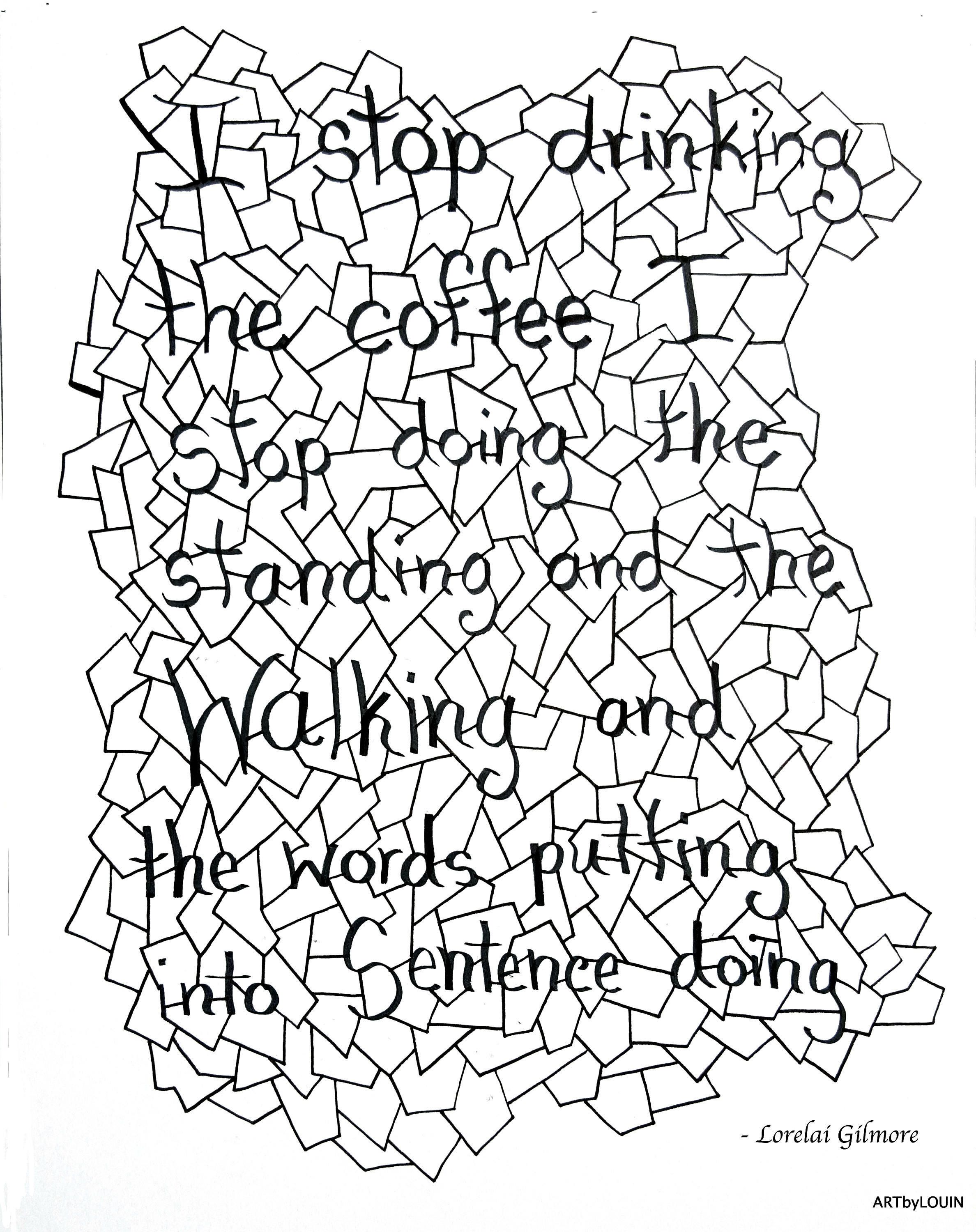 lorelai gilmore quote coloring page black and white i kolor