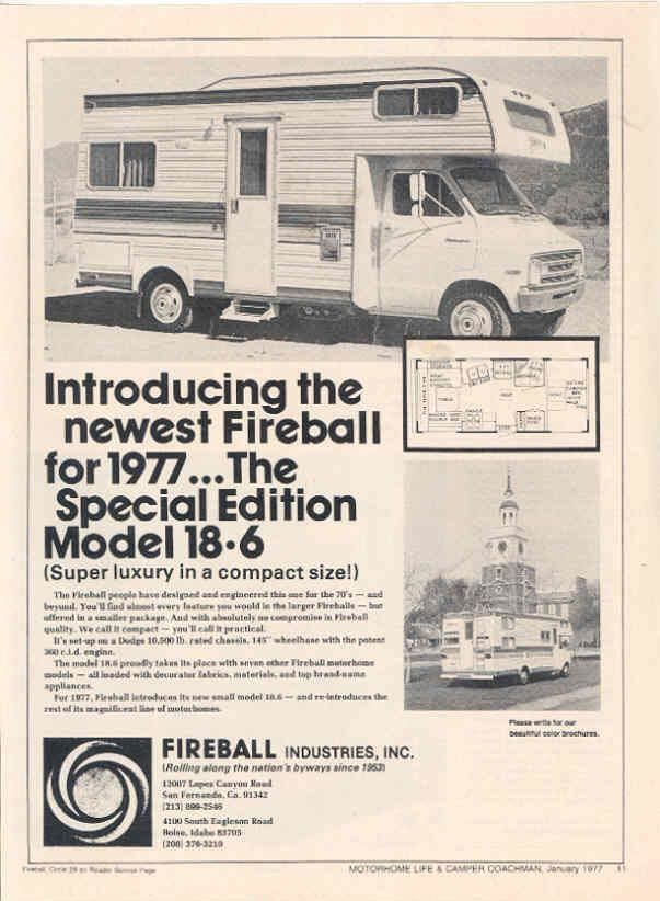 1977 Fireball Model 18 9 Dodge motorhome RV Ad R666 Civrow