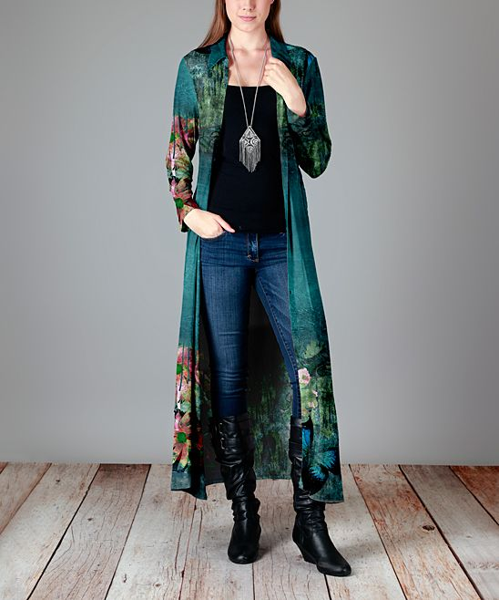 Teal Floral Button-Up Duster