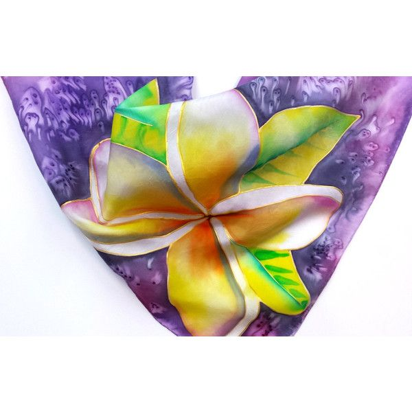 Plumeria Silk Scarf, Hand Painted Original Silk Scarves, Kauai Hawaii... (€47) ❤ liked on Polyvore featuring accessories and scarves