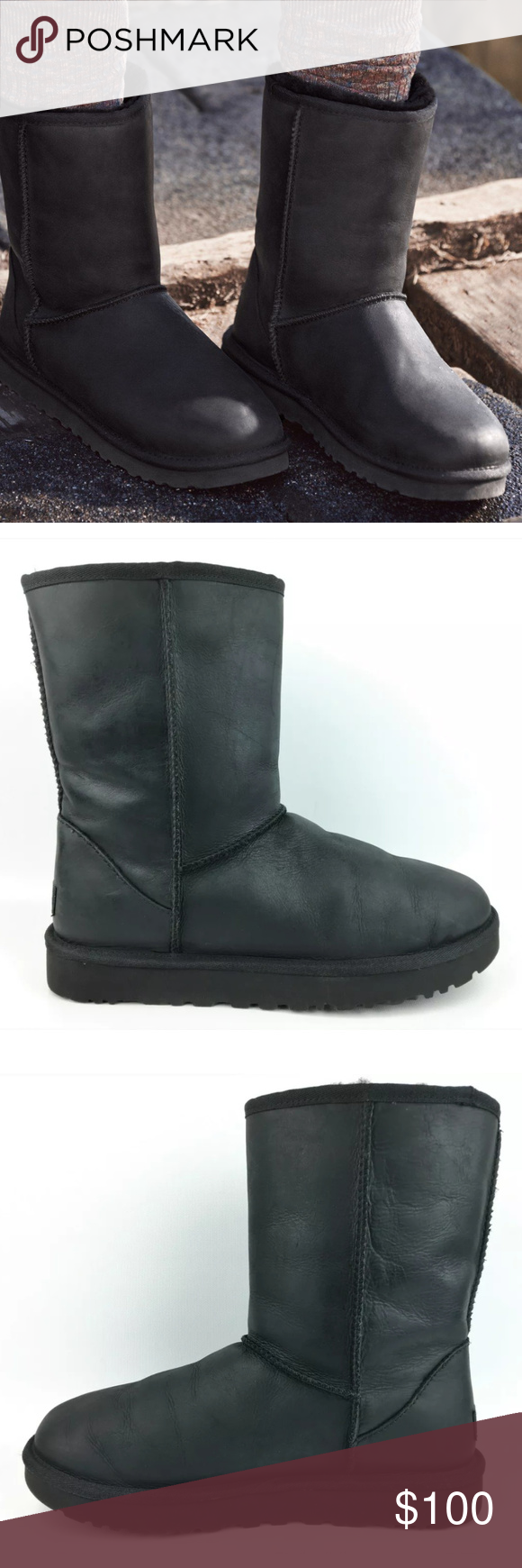 f5aa704bcd4 UGG Classic Short Leather Black Boots Normal wear, Boots have scuffs ...