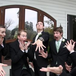 A hilarious moment between a groom and his men. Via Plum Tree Studios.