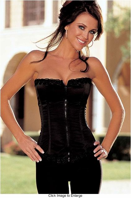 9cbb3c4bb Our Best Selling Satin and Spandex Corset Top in Black