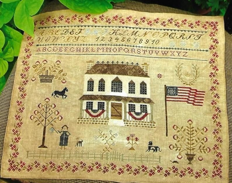 Primitive Cross Stitch PATTERN ONLY Colonial Style Needlework Counted Cross Stitch Pattern Sewing Bag Schoolgirl Sampler Stacy Nash