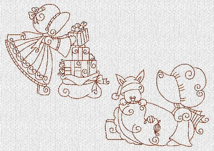 Sunbonnets Christmas Holiday Redwork Machine Embroidery Designs