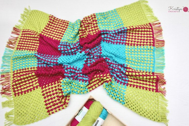 Crochet Gingham Blanket With Granny Stripes | Crochet | Pinterest