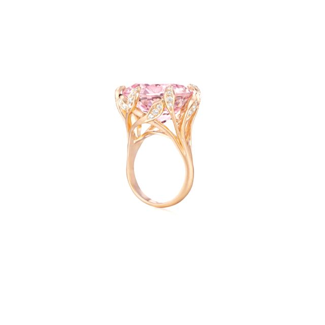 Carelle- Jeanne After Dark Ring (rose gold and Morganite/pink emerald)