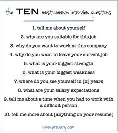 how to answer the most common interview questions..(do as homework)
