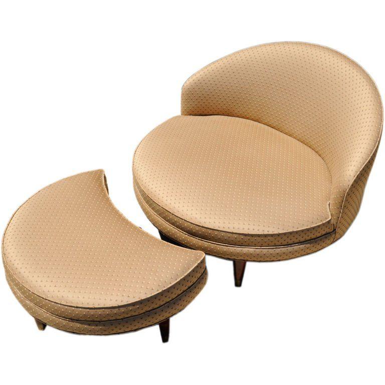 Astonishing 1Stdibs Slipper Chair 1950S Round Ottoman American Mid Theyellowbook Wood Chair Design Ideas Theyellowbookinfo