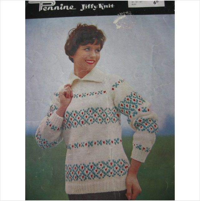 Vintage Pennine Jiffy Knitting pattern 920 ladies fair isle stripe ...