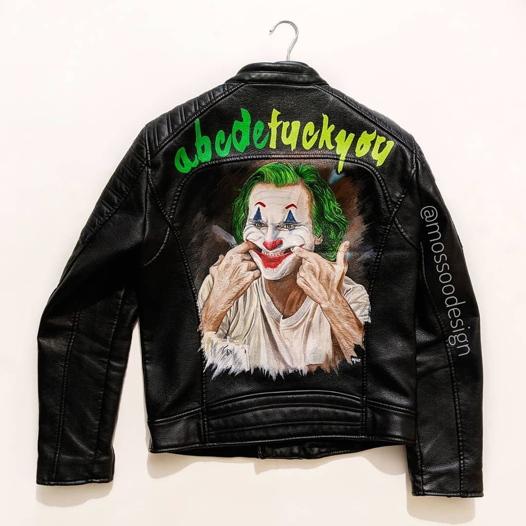 My Mother Always Tells Me To Smile And Put On A Happy Face The Joker Jacket Joker Acbdefuckyou Handpainte Joker Jacket Jackets Painted Leather Jacket [ 1080 x 1080 Pixel ]
