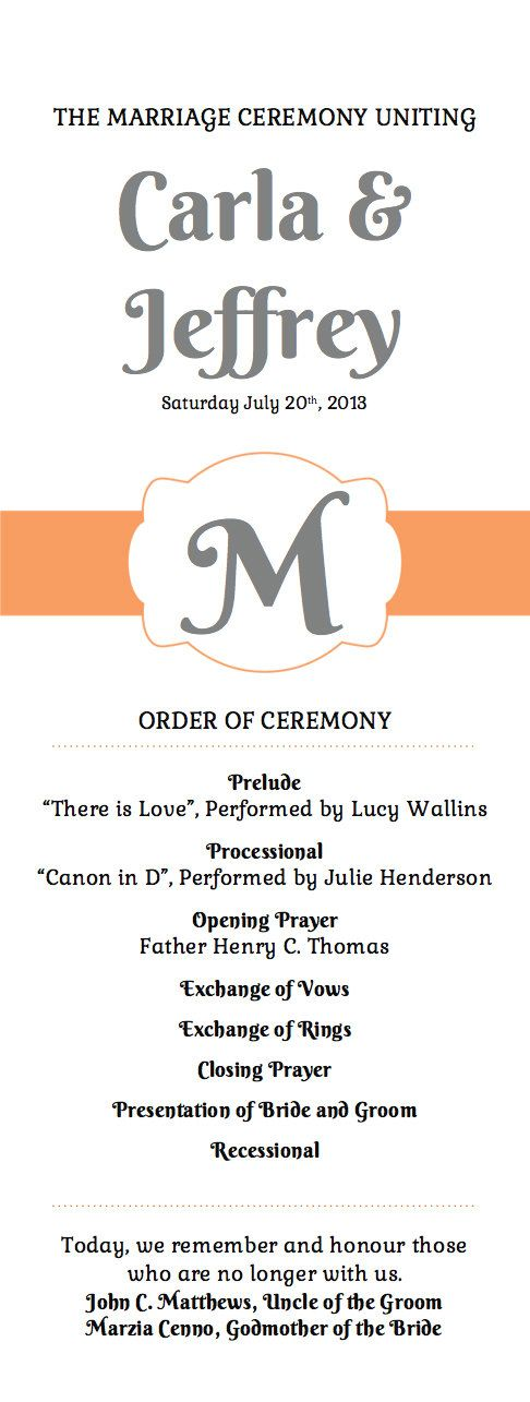 Printable Wedding Program Template Orange and by ParkbenchPaperie