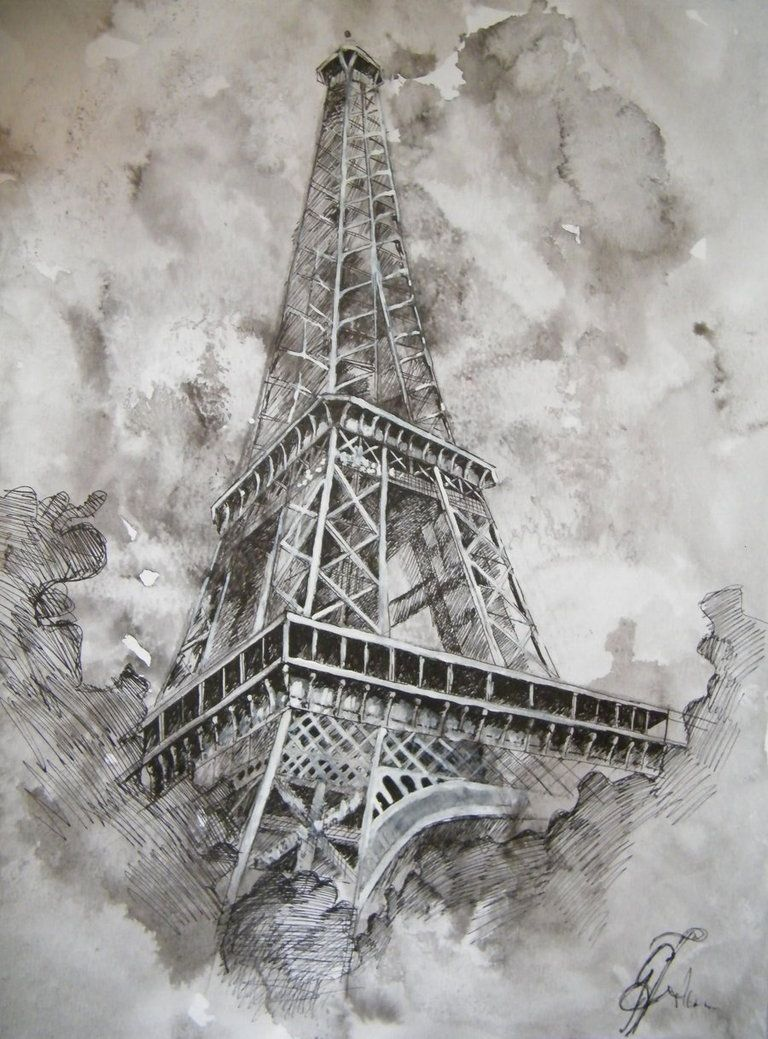 Eiffel Tower Pencil Sketch Pencil Drawing - The E...
