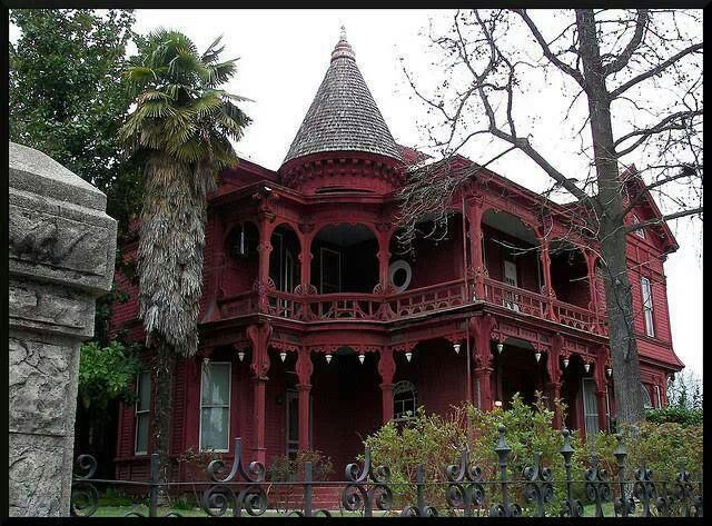 Red Black Gothic Victorian House Home Haunted