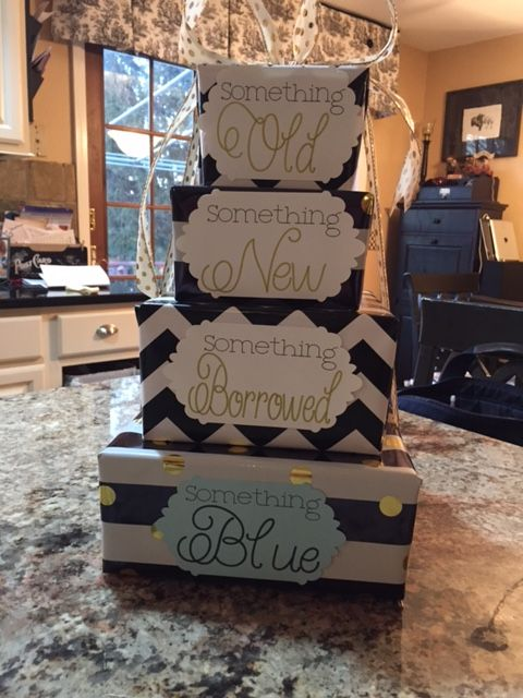 Old, New, Borrowed, Blue gift for bride!  Labels made on Cricut, Nesting Boxes purchased from Amazon & wrapping paper from Hobby Lobby.