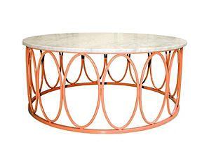 Ovales Cocktail Table, Orange/White