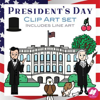 Presidents Day Clip Art Clipart For Washington Or Lincoln S Birthday American Flag Clip Art Clip Art Holiday Activities For Kids