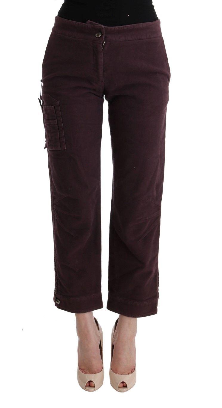 Ermanno Scervino Purple Cotton Cropped Regular Fit Pants | Brands Vice