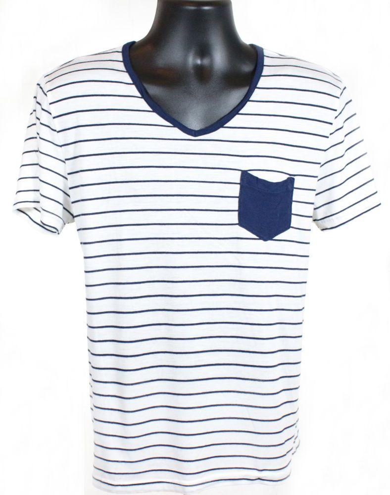 Foreign Exchange Men S V Neck T Shirt White Blue Stripes Pocket Size Small Foreignexchange Vneck