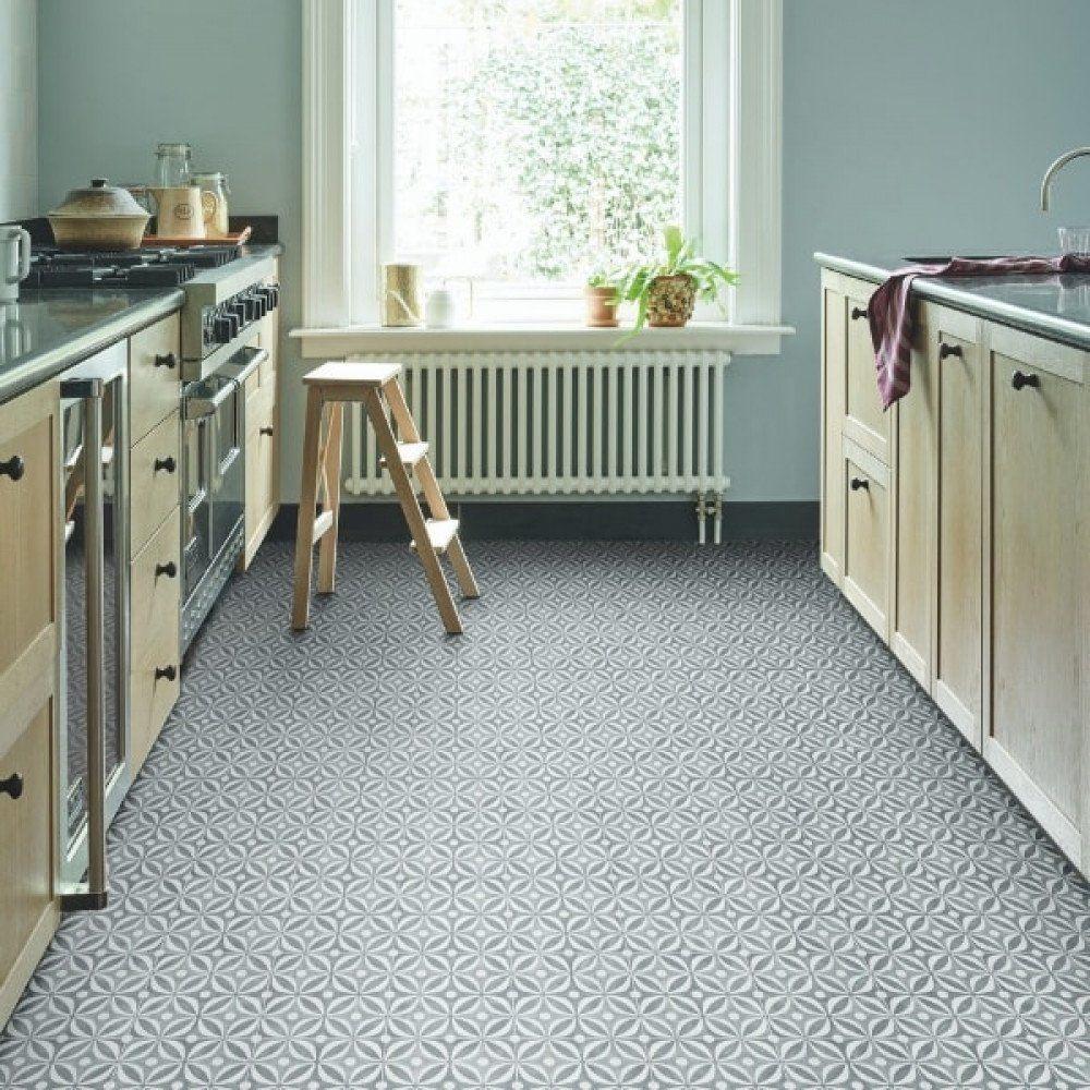 Encaustic Cement Tile Effect Sheet Vinyl Flooring