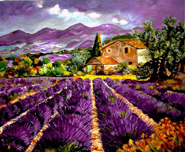 Lavender fields lavande peinture paysage et aquarelles - Peinture couleur lavande ...