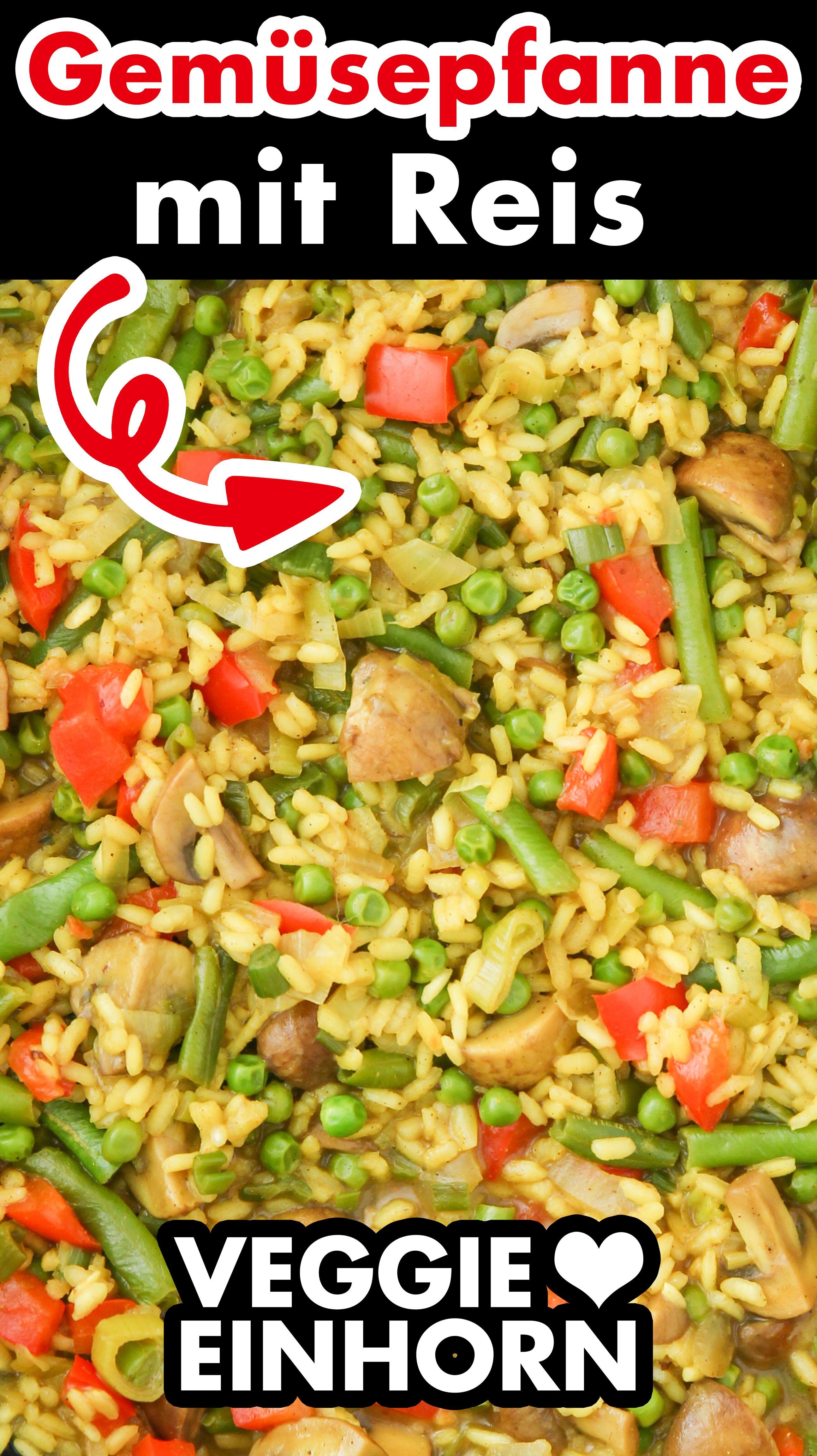 Gesunde Gemüsepfanne mit Reis   Einfache Reispfanne mit viel Gemüse