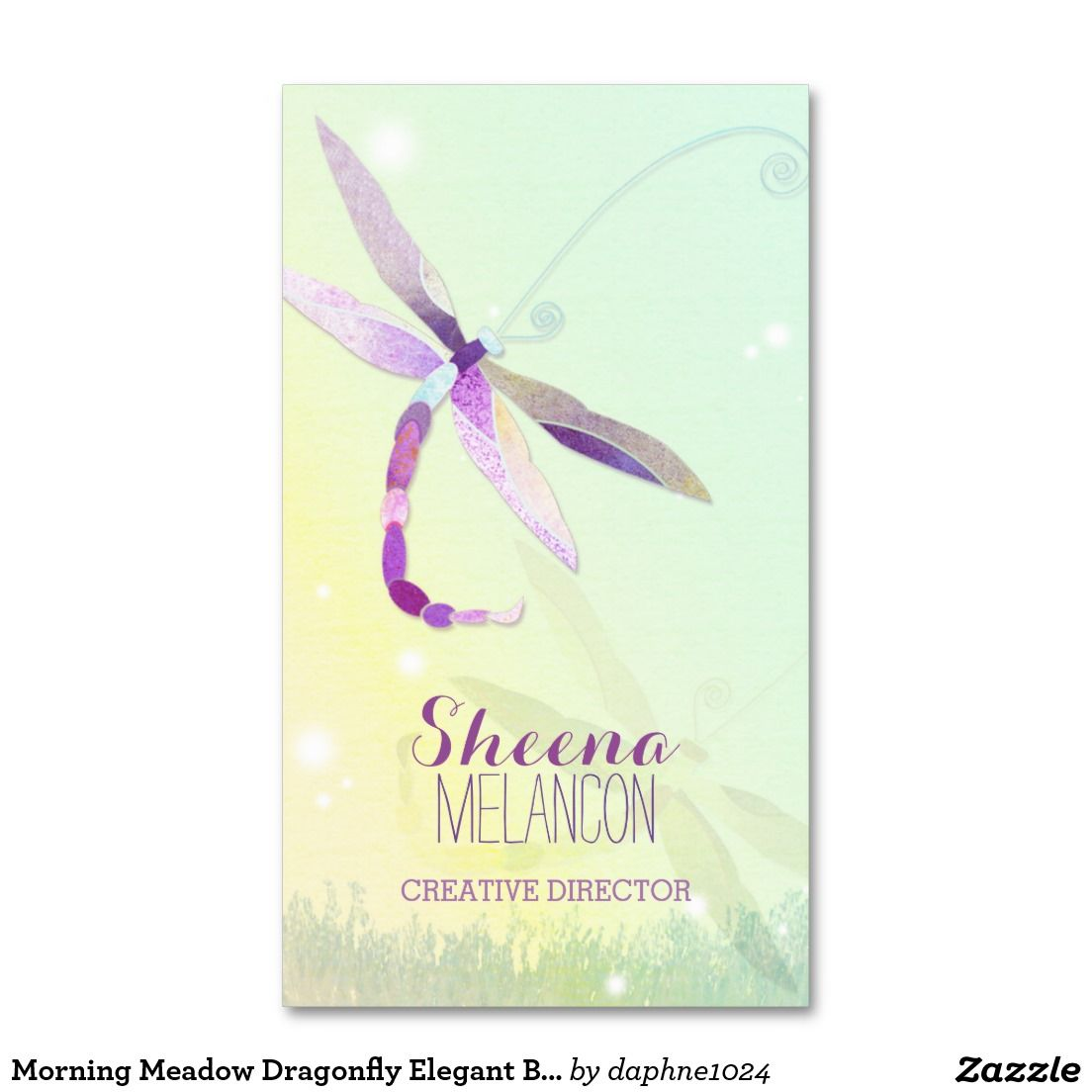 Morning Meadow Dragonfly Elegant Business Cards | UNIQUE Custom ...