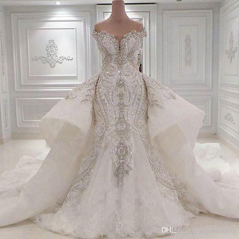 d661f63c02 2019 Portrait Mermaid Wedding Dresses With Overskirts Lace Ruched ...