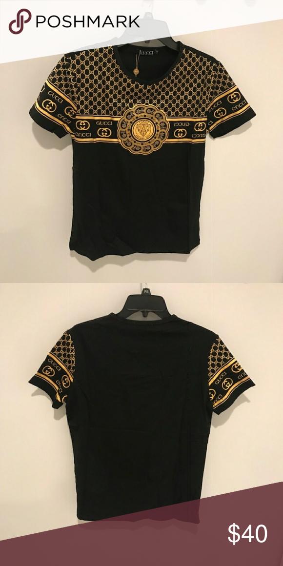 bd23041ed3 Gucci Black & Gold Large T Shirt GUCCI BLACK AND GOLD T SHIRT ...