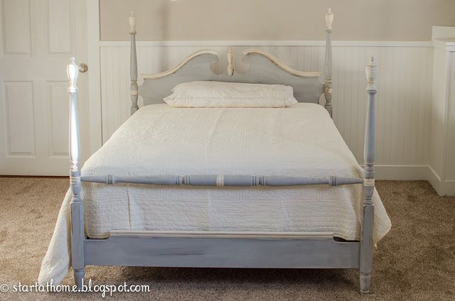 Vintage Bed Frame Painted With Paris Grey Old White Chalk Paint Annie Sloan Soft Clear Dark Wax Project By Start At Home Decor