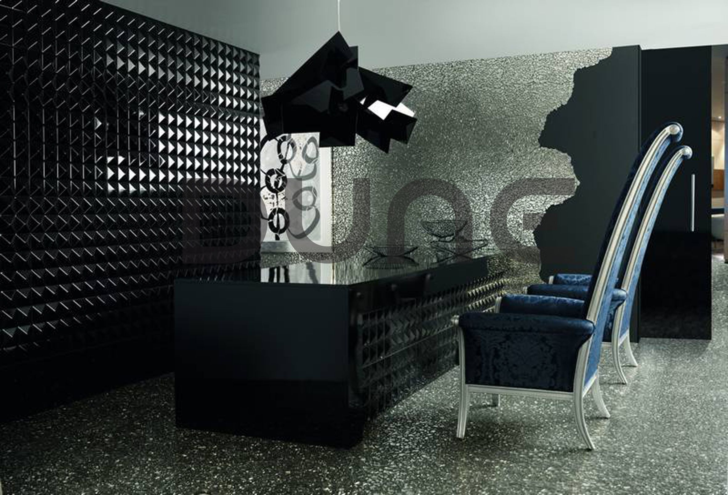 Product Name Black Keops And Krypton Collection Megalos Emphasis Mesh Mounted Glass Mosaic And 3d Cerami Wall Cladding Contemporary House Design Silver Tile