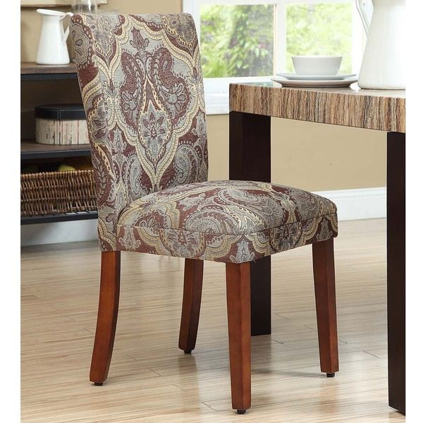 HomePop Blue and Brown Paisley Parson Chairs (Set of 2) & HomePop Blue and Brown Paisley Parson Chairs (Set of 2) | House ...