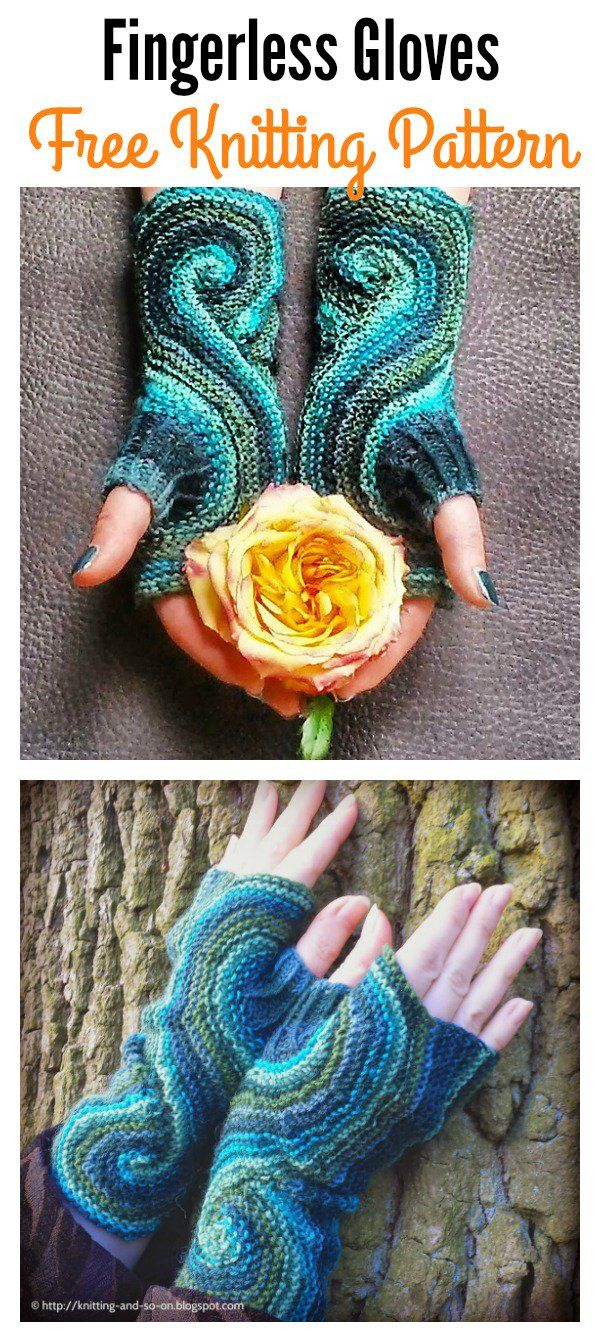 Pieces of Eight Fingerless Gloves Free Knitting and Crochet Pattern ...