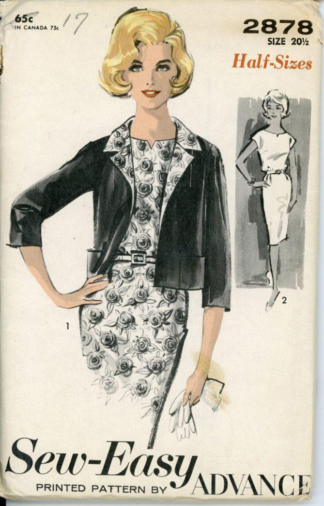 1960s Sheath Dress & Jacket Vintage Sewing Pattern Advance 2878 Day ...