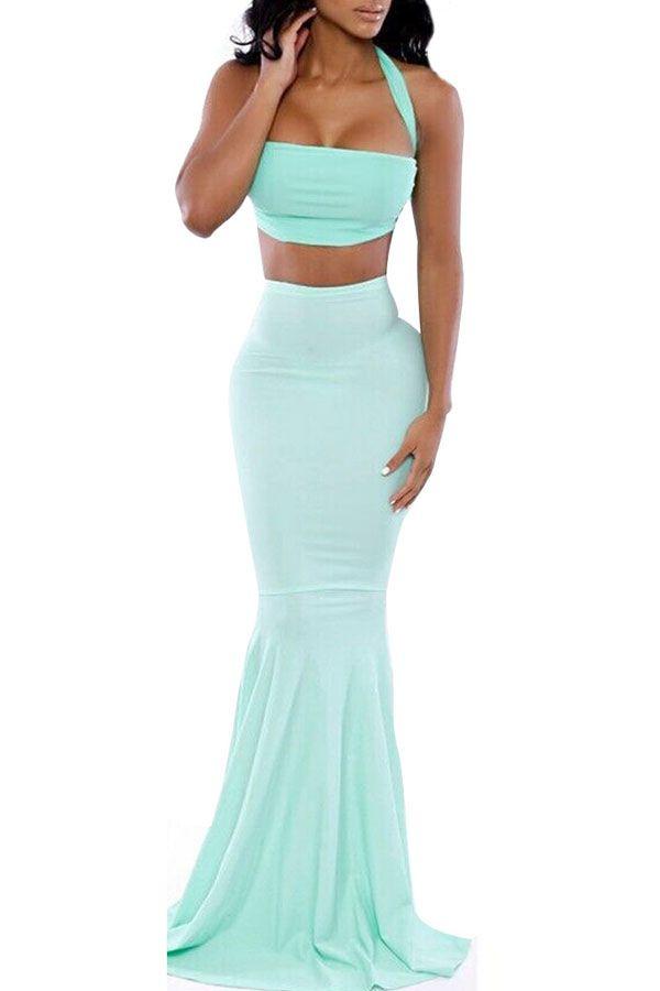 ec4975ff2a Light Green Twisted Crop Top Mermaid Skirt Set #Light #Set #maykool