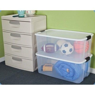 Sterilite 116 Quart Ultra Latching Storage Tote Box Container Clear 20 Pack Storage Tubs Clear Plastic Storage Containers Plastic Storage Totes